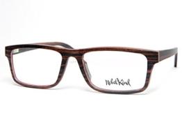 Nebelkind Echt Holz-Brille Karree aus Ahorn inkl. Bambus-Etui braun gemasert mit Dummygläsern klar unisex -