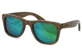 Nebelkind Holz Sonnenbrille Bamboobastic Dunkelbraun aus Bambus (grün verspiegelt) unisex -